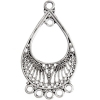 Chandelier Earring Part 5 Ring Light Antique Silver
